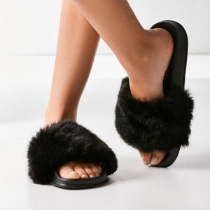 Urban Outfitters Off White Furry Slides